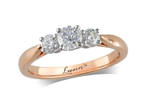 18 carat rose gold three stone diamond engagement ring, with a certificated brilliant cut centre in a four claw setting, and one brilliant cut on each shoulder. Perfect fit with a wedding ring. Total diamond weight: 0.53ct.
