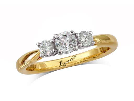 18 carat yellow gold set three stone diamond engagement ring, with a certificated brilliant cut centre in a four claw setting, and one brilliant cut on each shoulder. Perfect fit with a wedding ring. Total diamond weight: 0.43ct.