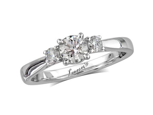 Platinum three stone diamond engagement ring, with a certificated brilliant cut centre in a four claw setting, and one brilliant cut on each shoulder. Perfect fit with a wedding ring. Total diamond weight: 0.57ct.