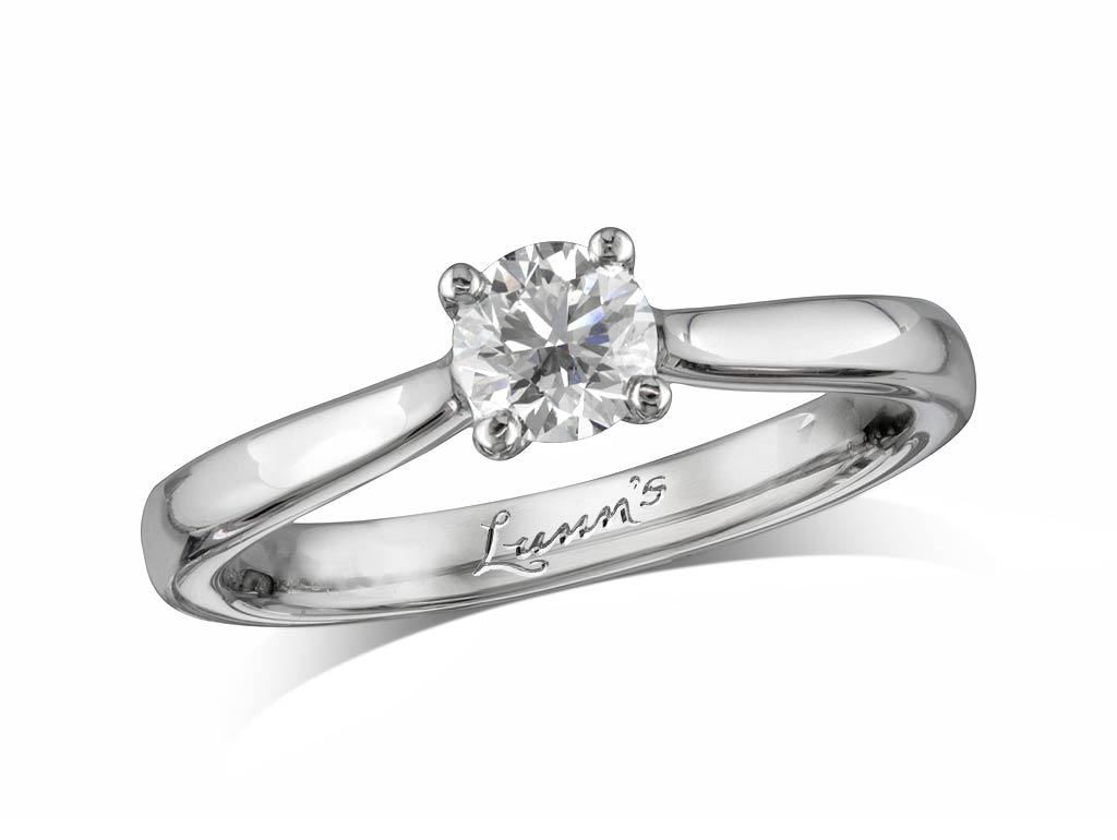 A 0.40ct, Brilliant, F, Single stone diamond ring. You can buy online or reserve online and view in store at Lunns, Londonderry