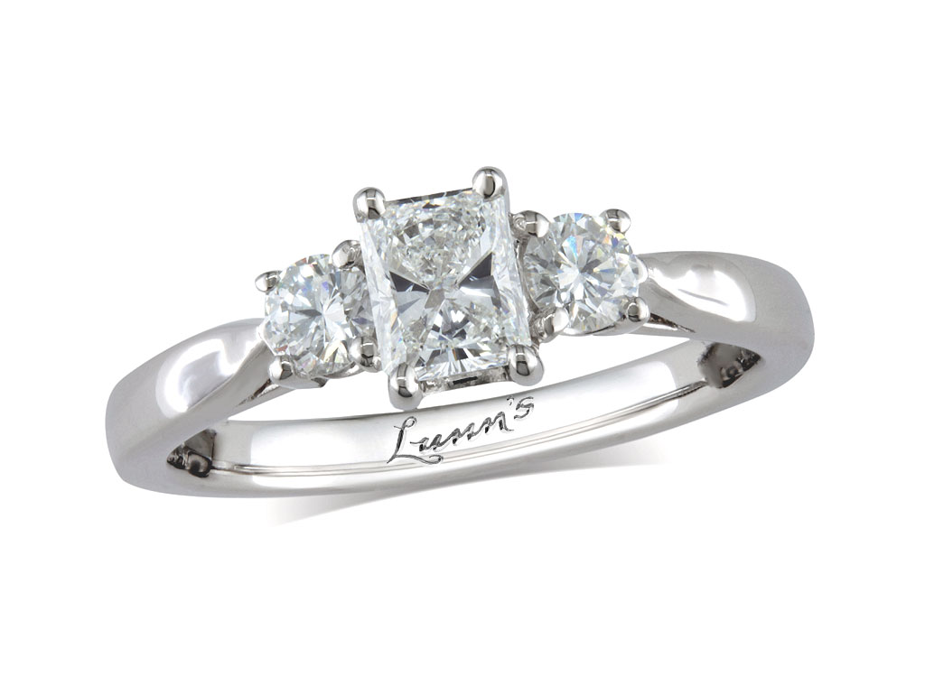 Centre radiant f three stone diamond ring for Lindenwold fine jewelers jewelry showroom price